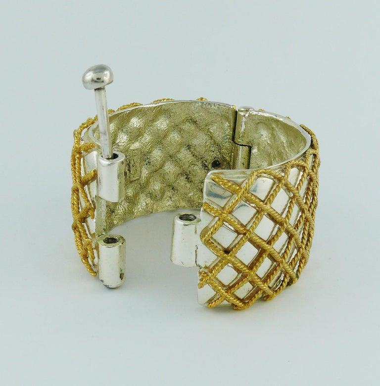 Yves Saint Laurent YSL Vintage Two Tone Grid Design Cuff Bracelet For Sale 4