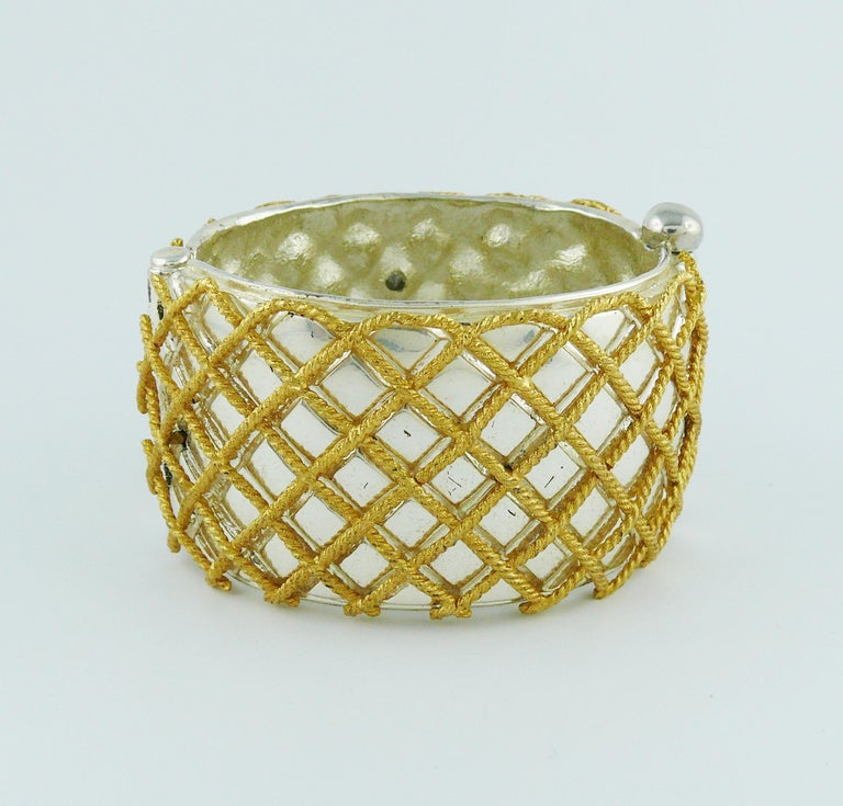Yves Saint Laurent YSL Vintage Two Tone Grid Design Cuff Bracelet In Good Condition For Sale In Nice, FR