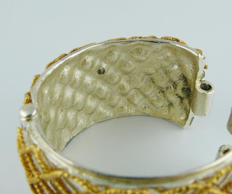 Yves Saint Laurent YSL Vintage Two Tone Grid Design Cuff Bracelet For Sale 7