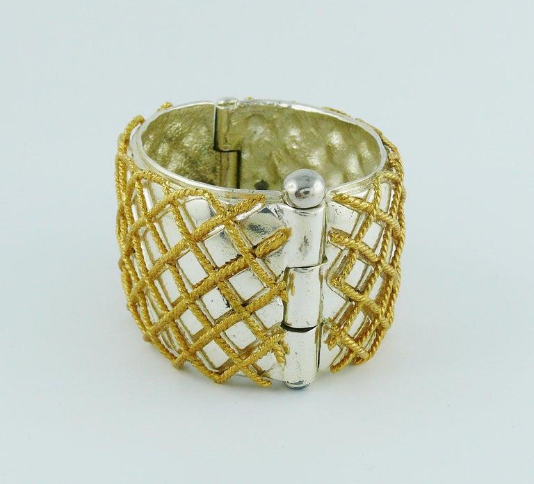 Yves Saint Laurent YSL Vintage Two Tone Grid Design Cuff Bracelet For Sale 1
