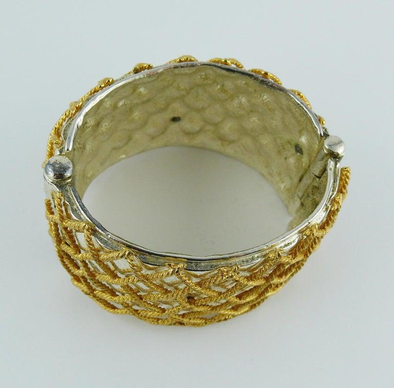 Yves Saint Laurent YSL Vintage Two Tone Grid Design Cuff Bracelet For Sale 5