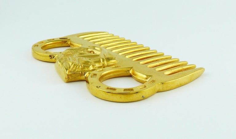 Women's or Men's Hermès Vintage Gold Toned Horse Comb For Sale