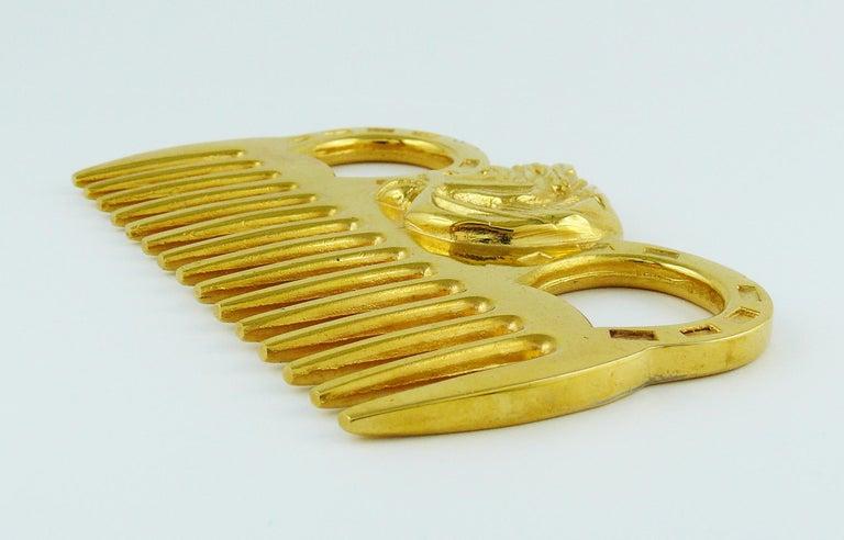 Brown Hermès Vintage Gold Toned Horse Comb For Sale