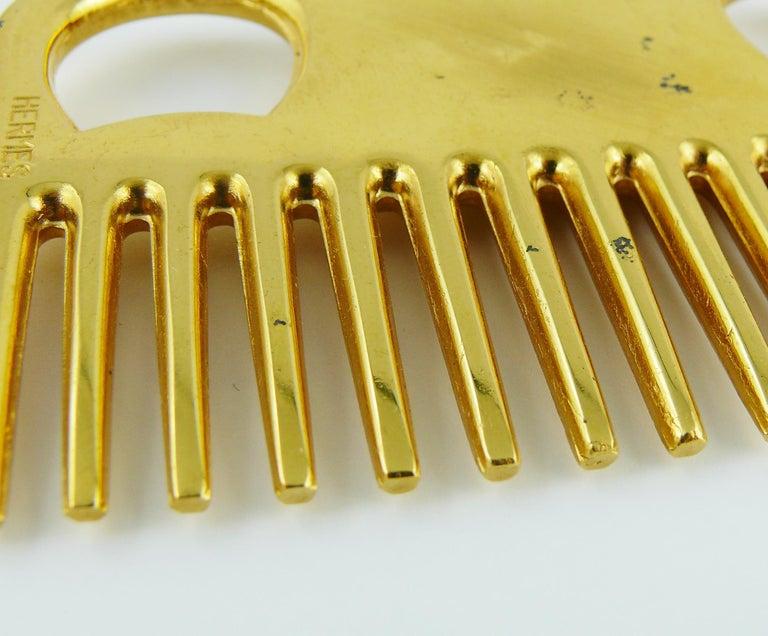 Hermès Vintage Gold Toned Horse Comb For Sale 4