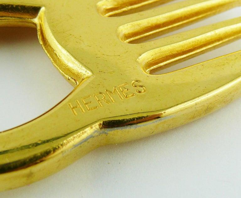Hermès Vintage Gold Toned Horse Comb For Sale 2