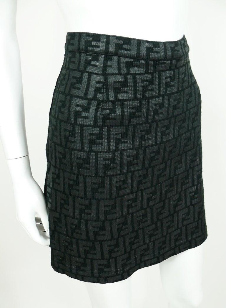 Beige Fendi All Over Logo Skirt For Sale