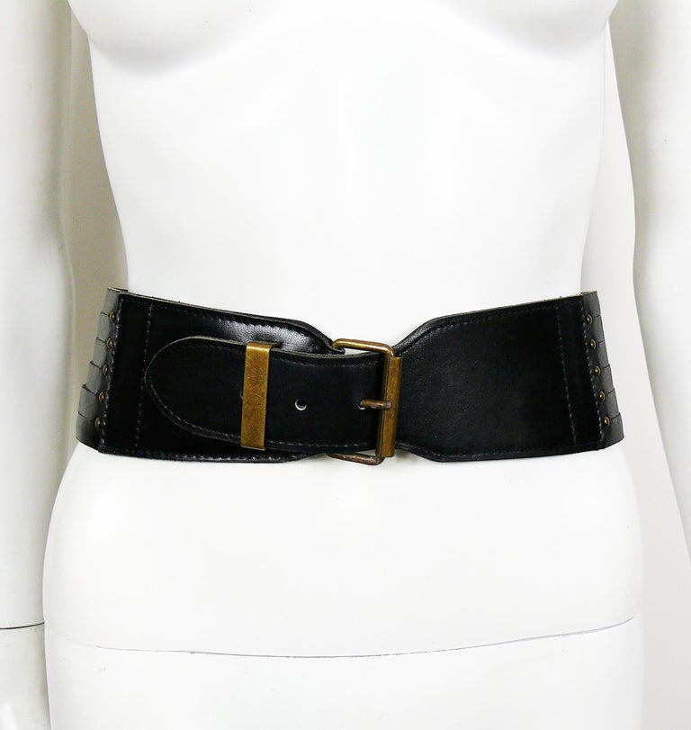 Women's Alaia Vintage Black Leather Corset Belt For Sale