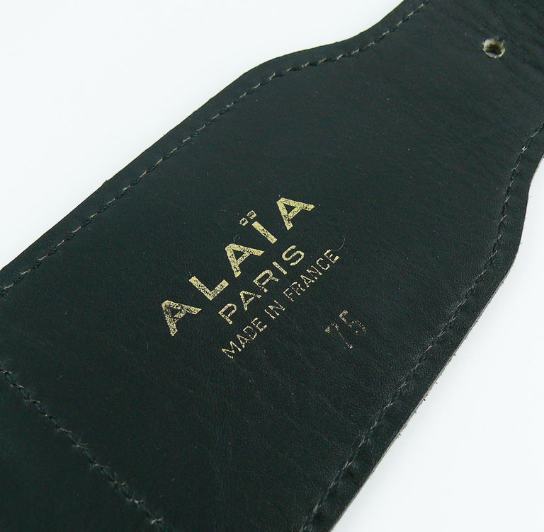 Alaia Vintage Black Leather Corset Belt For Sale 11