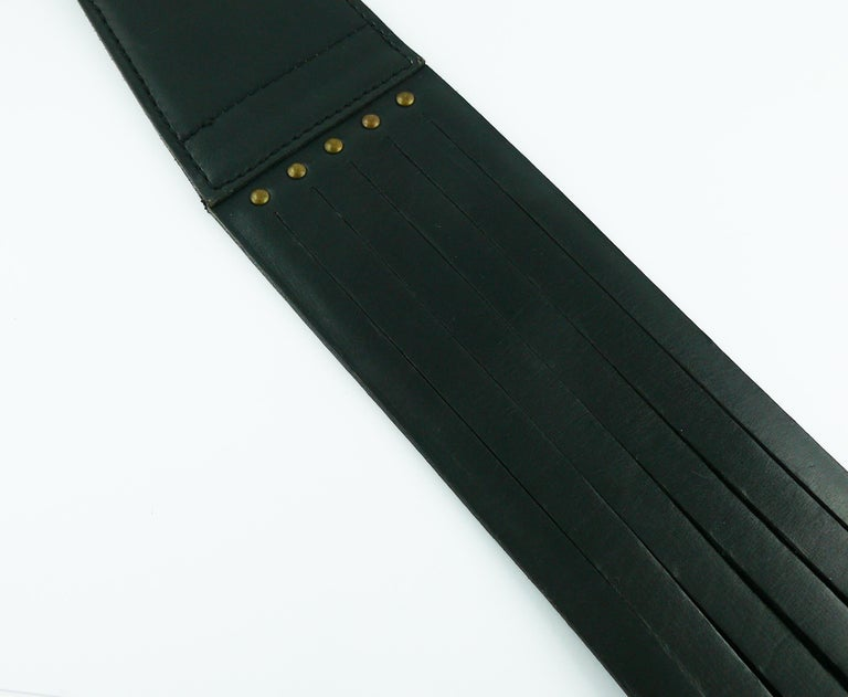 Alaia Vintage Black Leather Corset Belt For Sale 6