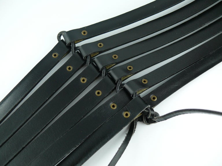 Alaia Vintage Black Leather Corset Belt For Sale 9
