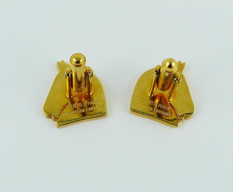 Hermes Vintage Gold Toned Equestrian Cufflinks For Sale 1