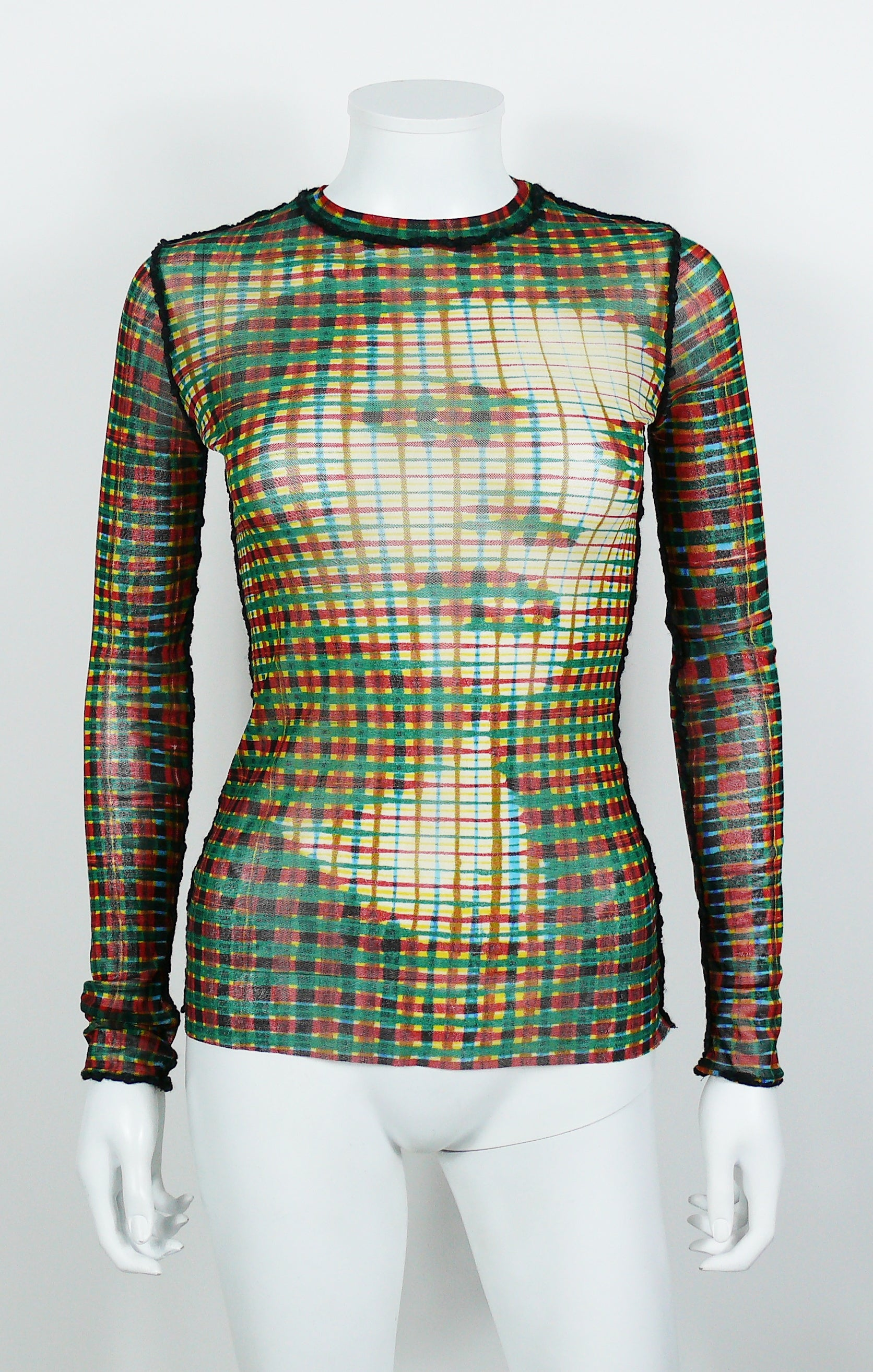 Jean paul gaultier vintage optical illusion profile sheer mesh top for sale at 1stdibs