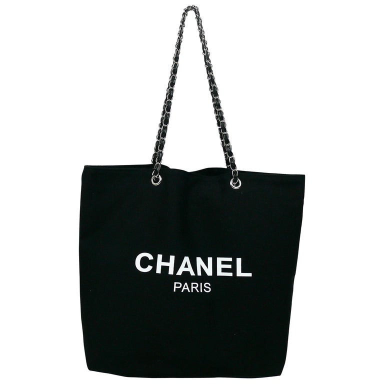 5f550aee10b6 Chanel Black Canvas Tote Shopping Promotional Gift Bag at 1stdibs