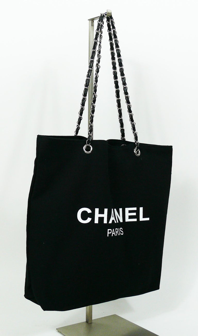 Chanel Black Canvas Tote Ping Promotional Gift Bag In Excellent Condition For French Riviera