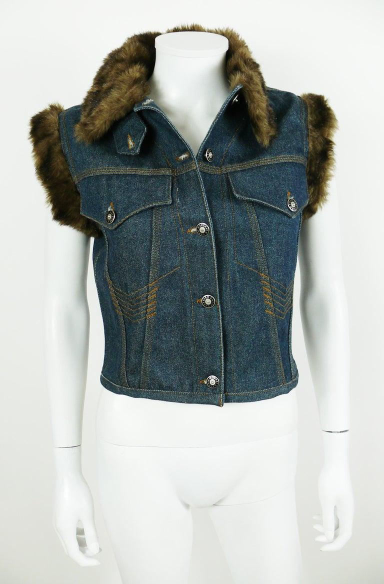 Jean Paul Gaultier Vintage Denim Faux Fur Sleeveless