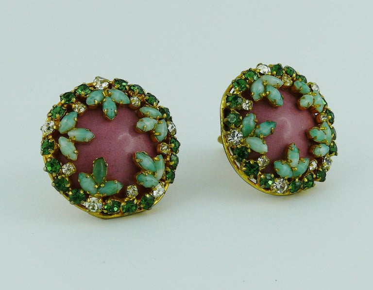 Christian Dior Vintage Jewelled Clip-On Earrings 1960s In Fair Condition For Sale In French Riviera, Cote d'Azur