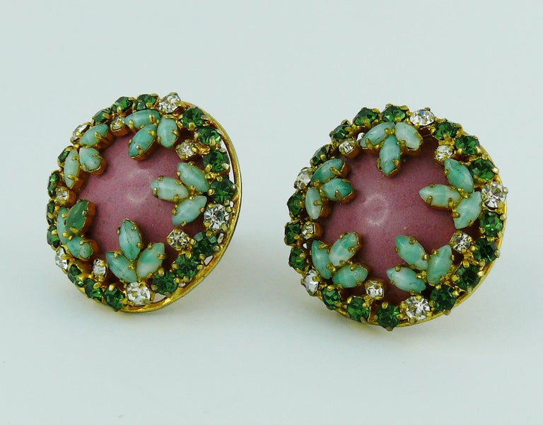 Christian Dior Vintage Jewelled Clip-On Earrings 1960s For Sale 1