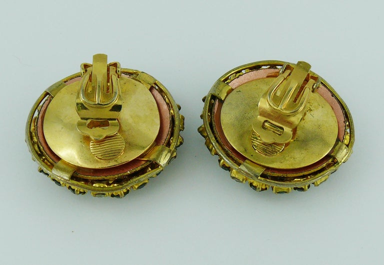 Christian Dior Vintage Jewelled Clip-On Earrings 1960s For Sale 4