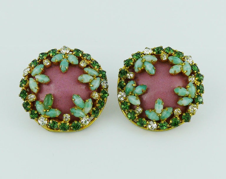 Women's Christian Dior Vintage Jewelled Clip-On Earrings 1960s For Sale