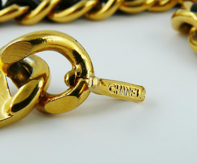 Chanel Vintage Black Leather ID Plate Belt with CC Medallion Charm For Sale 5