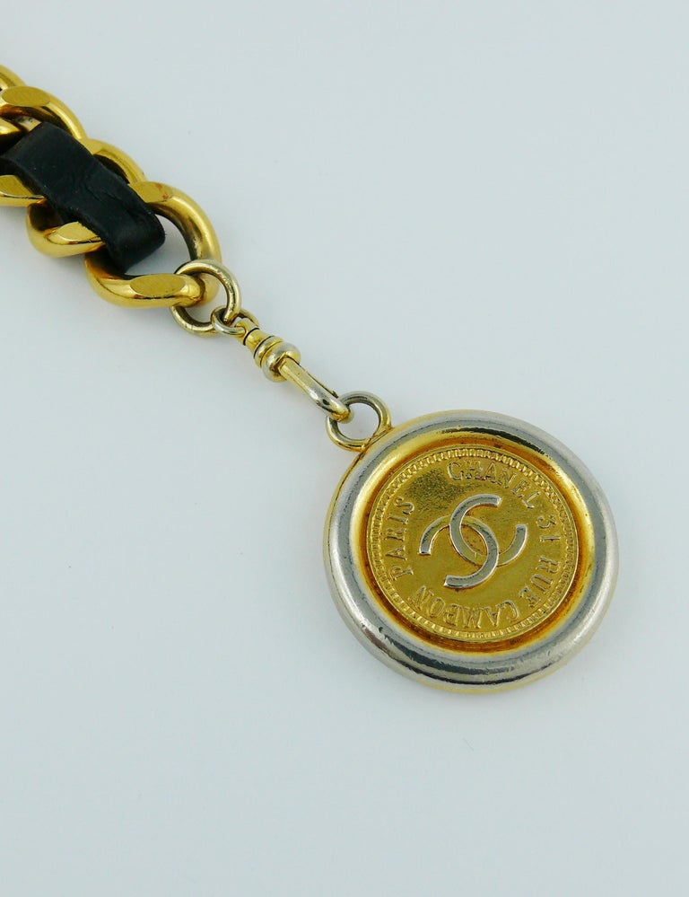 Chanel Vintage Black Leather ID Plate Belt with CC Medallion Charm For Sale 7