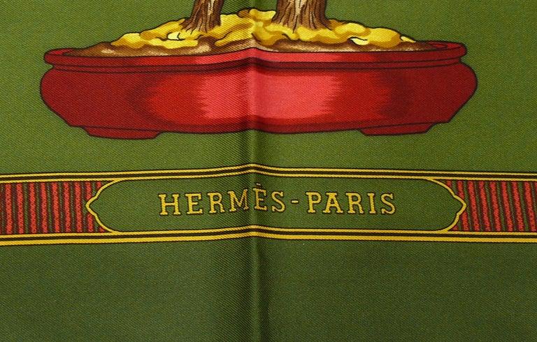 Brown Hermes Vintage Silk Carre Scarf Les Beaux Jours de Bonsai by Catherine Baschet For Sale