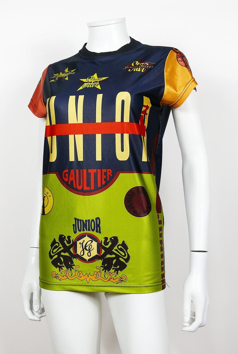 Women's or Men's Jean Paul Gaultier Vintage Junior Iconic Color Block T-Shirt Size S For Sale