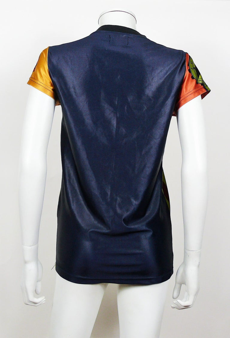 Jean Paul Gaultier Vintage Junior Iconic Color Block T-Shirt Size S For Sale 1