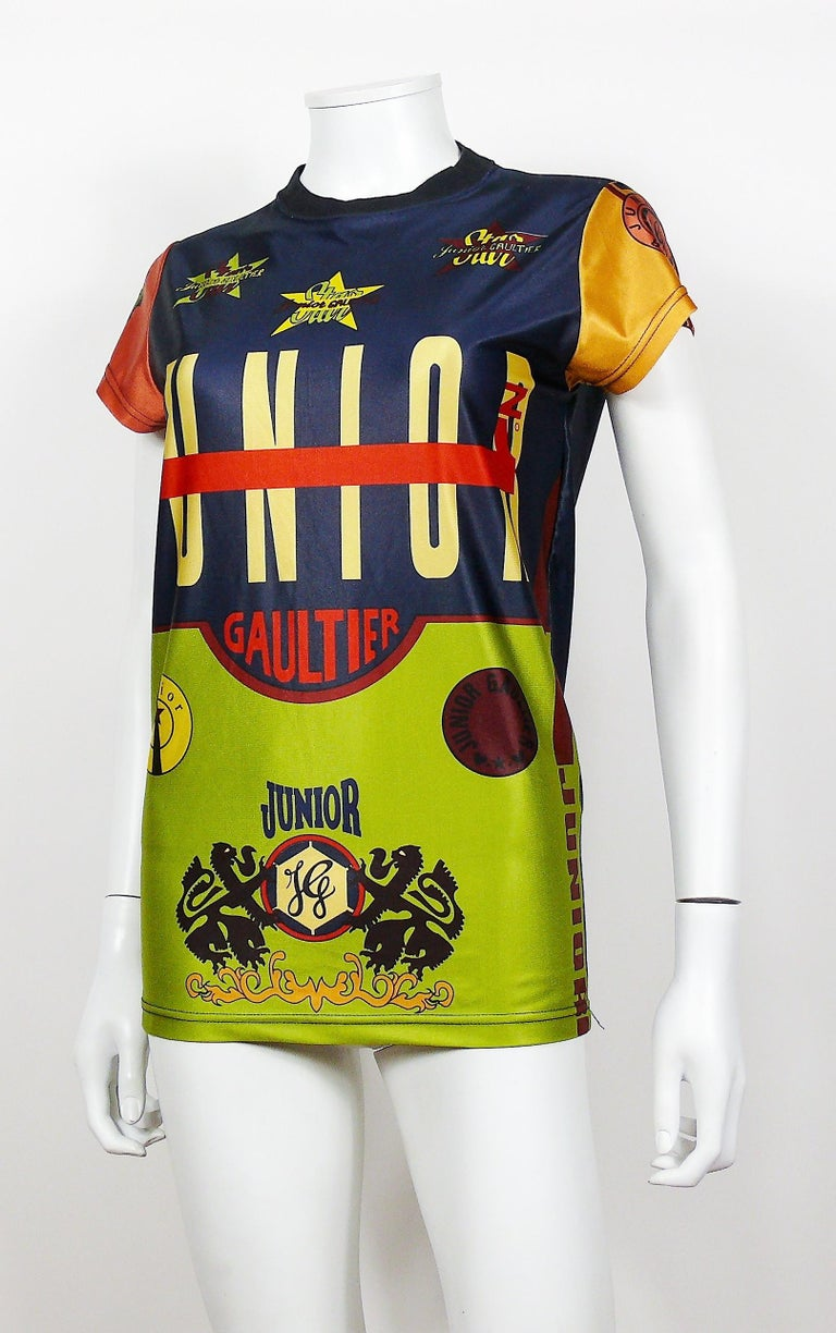 Jean Paul Gaultier Vintage Junior Iconic Color Block T-Shirt Size S In Good Condition For Sale In Nice, FR