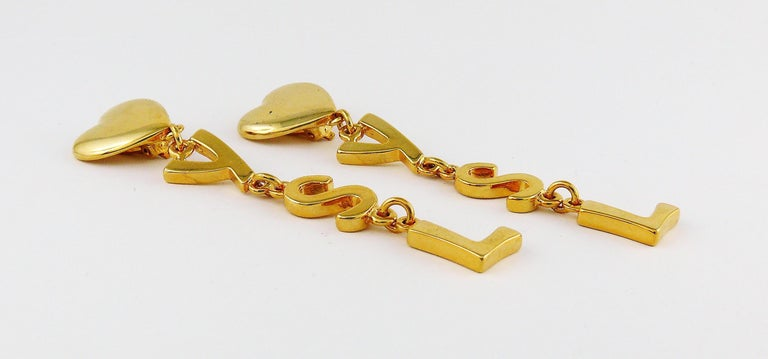 Yves Saint Laurent YSL Vintage Initials Dangling Earrings In Good Condition For Sale In Nice, FR