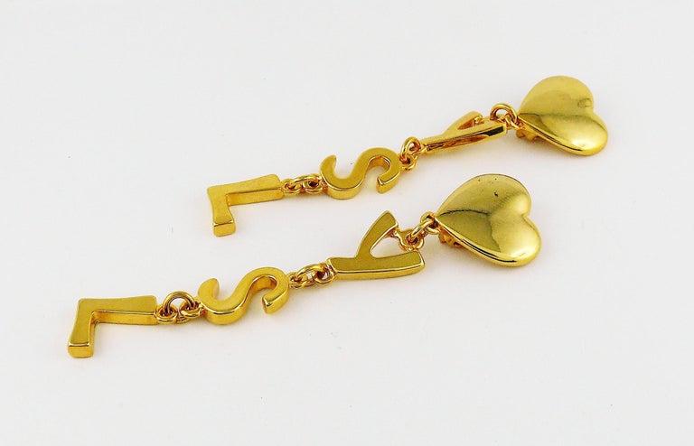 Yves Saint Laurent YSL Vintage Initials Dangling Earrings For Sale 1