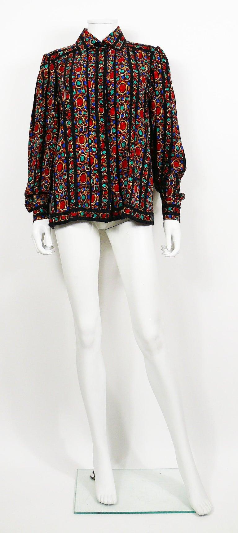 Black Yves Saint Laurent YSL Vintage Jewel Print Blouse For Sale