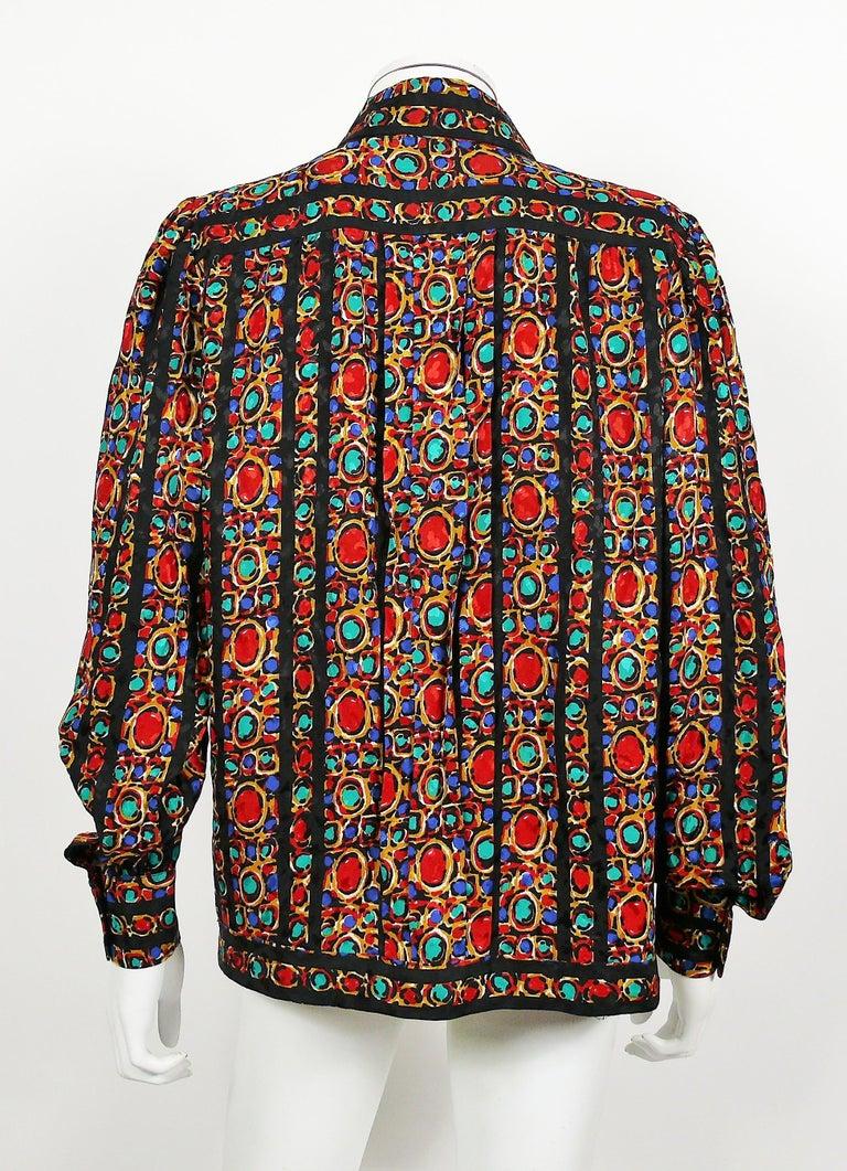 Women's Yves Saint Laurent YSL Vintage Jewel Print Blouse For Sale