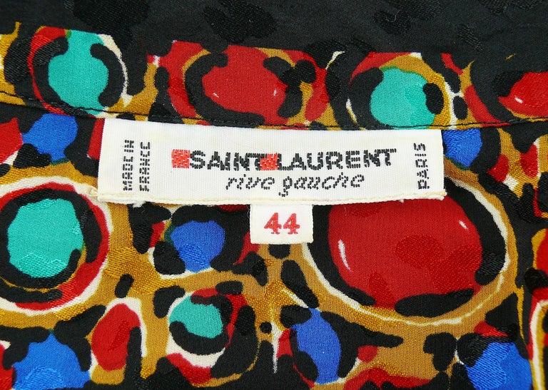 Yves Saint Laurent YSL Vintage Jewel Print Blouse For Sale 3