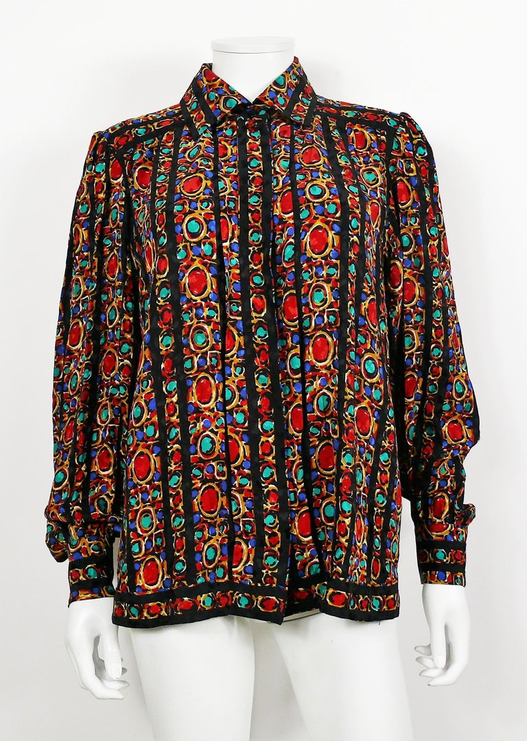 Yves Saint Laurent YSL Vintage Jewel Print Blouse In Excellent Condition For Sale In Nice, FR