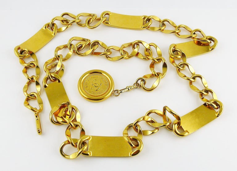 Chanel Vintage Gold Toned Signature ID Plate Chain Belt Necklace For Sale 9