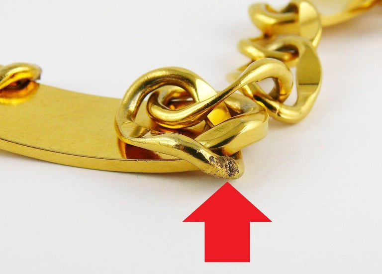 Chanel Vintage Gold Toned Signature ID Plate Chain Belt Necklace For Sale 12