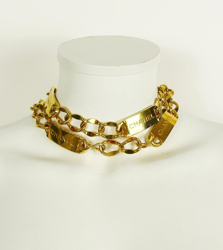 Chanel Vintage Gold Toned Signature ID Plate Chain Belt Necklace For Sale 7