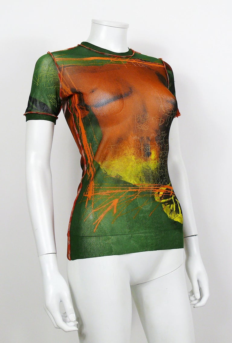 JEAN PAUL GAULTIER vintage Venus de Milo sheer mesh top featuring graffitis.  Label reads JEAN PAUL GAULTIER Maille. Made in Italy.  Size label reads : S. Please refer to measurements.  Missing composition tag (probably 100% Nylon).  Indicative