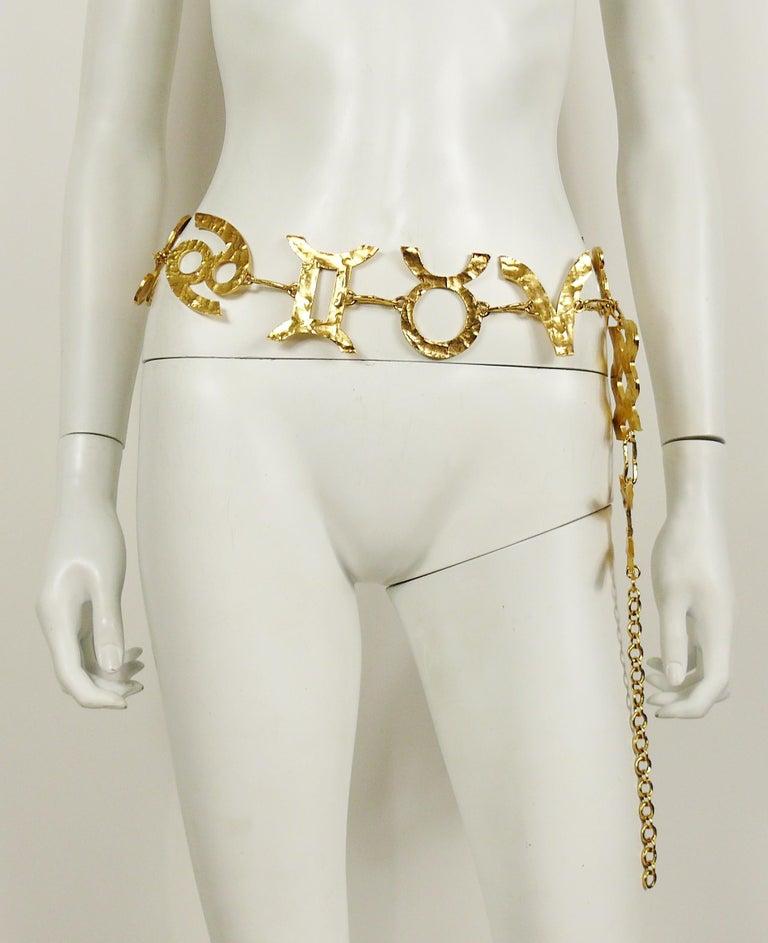 Women's Biche de Bere Vintage Massive Zodiac Hammered Belt Necklace Limited Edition For Sale