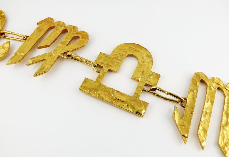 Biche de Bere Vintage Massive Zodiac Hammered Belt Necklace Limited Edition For Sale 1