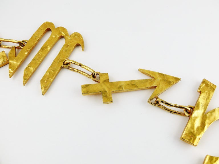 Biche de Bere Vintage Massive Zodiac Hammered Belt Necklace Limited Edition For Sale 2