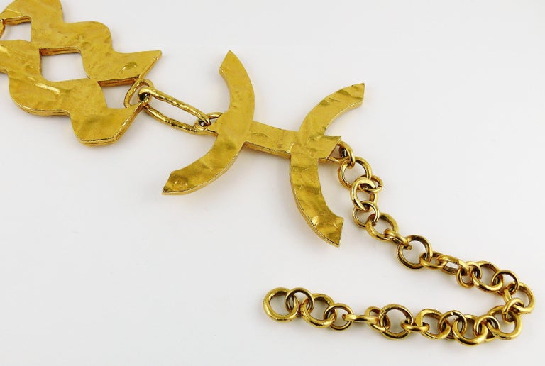 Biche de Bere Vintage Massive Zodiac Hammered Belt Necklace Limited Edition For Sale 5
