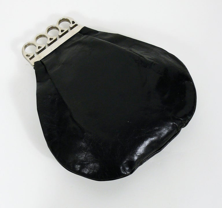 Jean Paul Gaultier Vintage Black Distressed Leather Knuckle Duster Clutch In Good Condition For