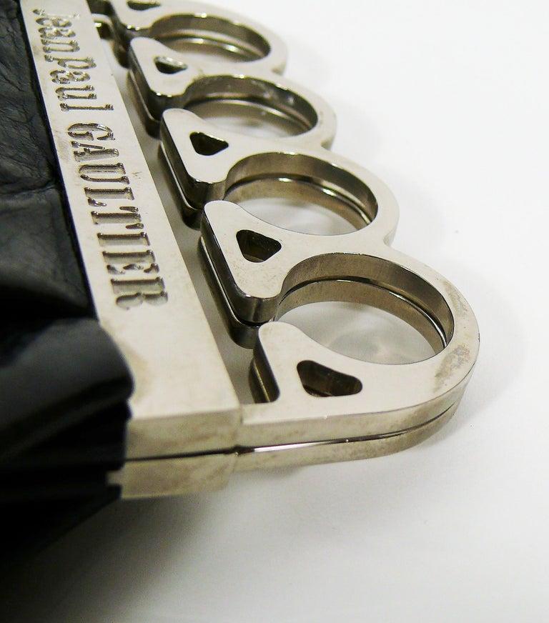 Jean Paul Gaultier Vintage Black Distressed Leather Knuckle Duster Clutch For Sale 12