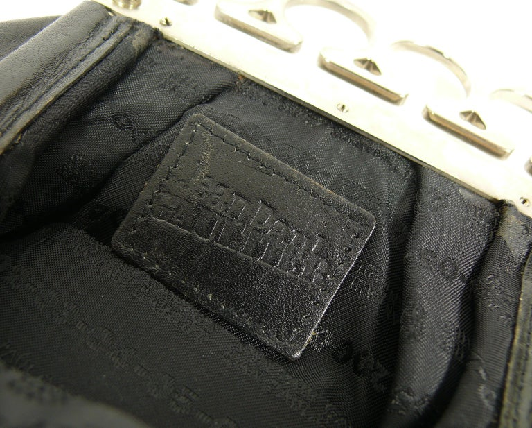 Jean Paul Gaultier Vintage Black Distressed Leather Knuckle Duster Clutch For Sale 5