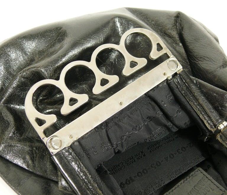 Jean Paul Gaultier Vintage Black Distressed Leather Knuckle Duster Clutch For Sale 15