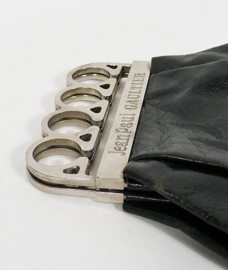 Jean Paul Gaultier Vintage Black Distressed Leather Knuckle Duster Clutch For Sale 13