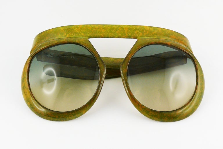 37239391b8ee Christian Dior Vintage 1970s Oversized Space Age Sunglasses Mod. 2030-50  For Sale 2