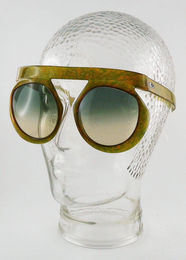 35634b55396f Christian Dior Vintage 1970s Oversized Space Age Sunglasses Mod. 2030-50 In  Excellent Condition